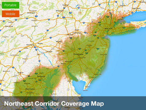 Northeast Corridor Coverage Map